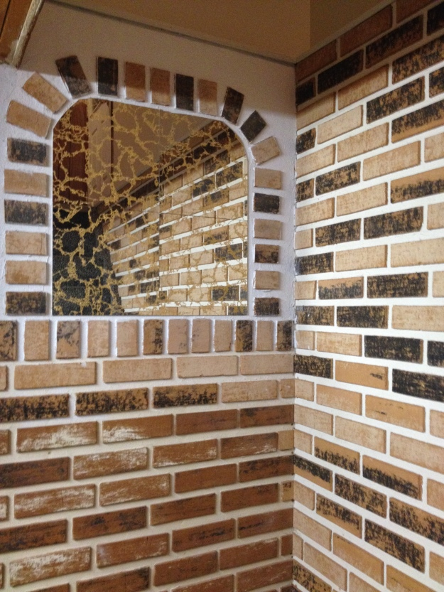 1970's imitation brick and mirror tiles.