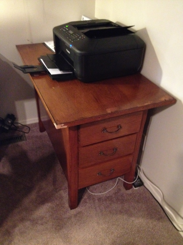 Printer stand from unwanted furniture.