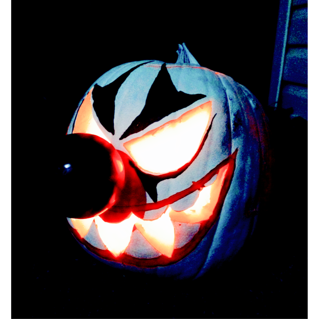 Tied for 3rd place and winner of the $50.00 cash prize is this pumpkin carved by Dillon Novakoski.